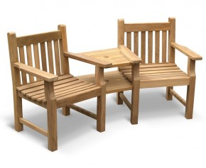 Taverners Garden Teak Companion Seat - Jack and Jill Seat - 4ft Garden Benches
