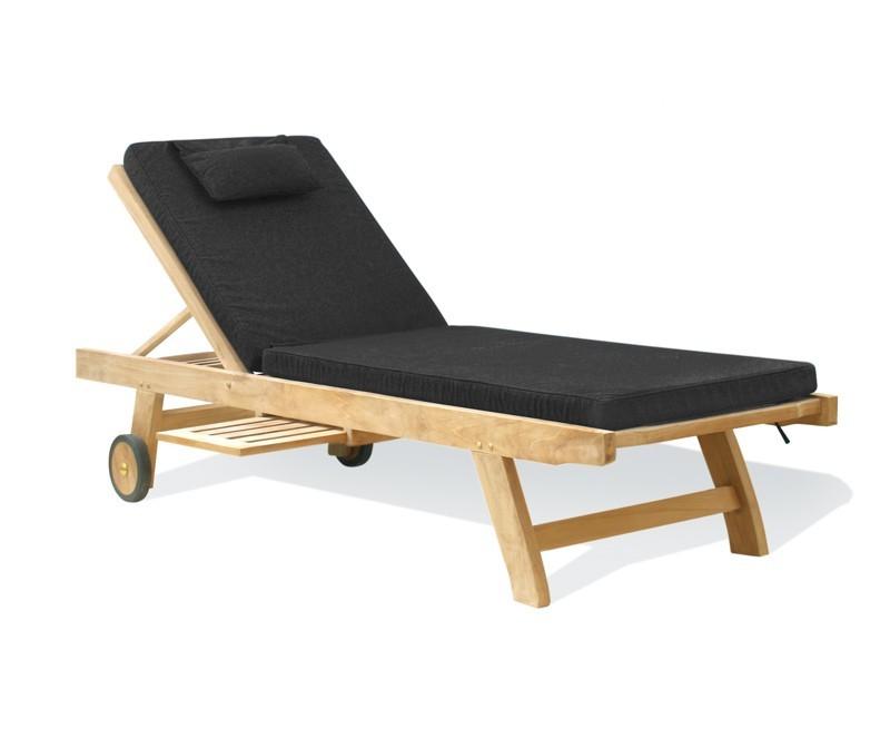teak wooden garden sun lounger with cushion. Black Bedroom Furniture Sets. Home Design Ideas