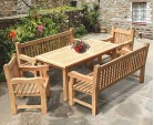 Balmoral Teak Dining Table and Benches Set - 1.8m