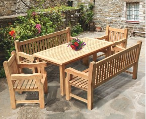 Balmoral 6ft Dining Table and Benches Set - Large Dining Sets