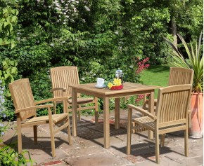 Sandringham 4 Seater Garden Table and Stackable Chairs Set - Square Table