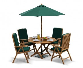 Suffolk Garden Folding Dining Table and Reclining Chairs Set - Patio Outdoor Octagonal Dining Set - Octagonal Table