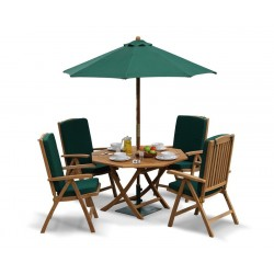 Suffolk Garden Folding Dining Table and Reclining Chairs Set - Patio Outdoor Octagonal Dining Set