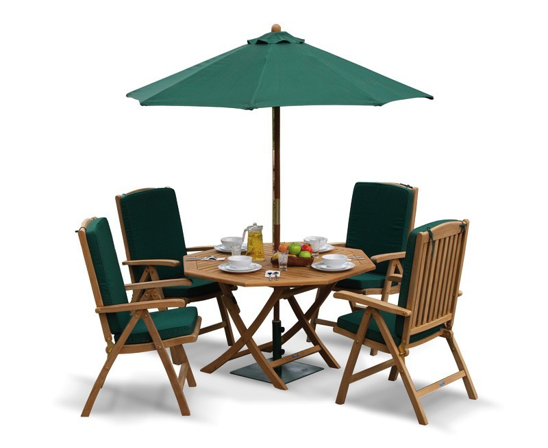 Garden folding dining table and reclining chairs set for Patio furniture table set