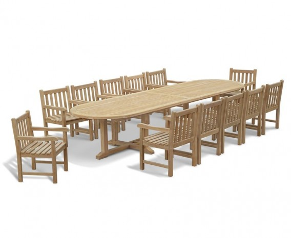 Hilgrove Large Oval Teak Garden Table and 12 Armchairs Set