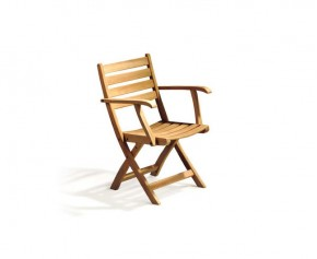 Suffolk Low Back Teak Folding Armchair - Garden Chairs
