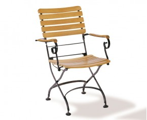 Folding Bistro Chair | Teak Bistro Arm Chair - Teak / Metal