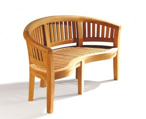 Teak Banana Garden Bench - Curved Garden Benches