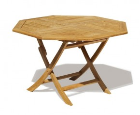 Suffolk 5ft Teak Folding Outdoor Octagonal Table - 150cm - Suffolk Tables