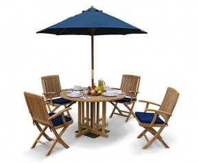 Berrington Round Garden Gateleg Table and Arm Chairs Set - Outdoor Patio 4 Seater Dining Set - Rimini Dining Set