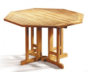 Berrington Teak Gateleg Octagonal Garden Table - 120cm - Drop Leaf Tables