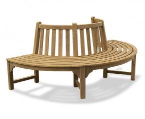 Teak Circular Half Tree Seat - Large Garden Benches