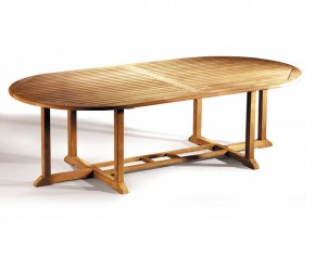 Hilgrove Extra Large Teak Oval Garden Table - 2.6m x 1.3m - 10 Seater Dining Tables