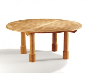 Titan 6ft Teak Circular Garden Table - 180cm - Titan Tables