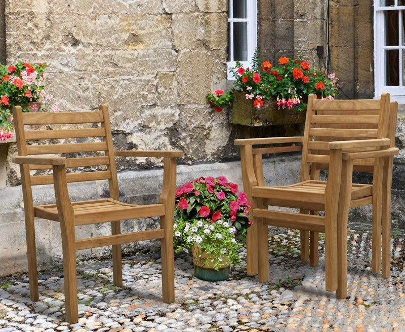 Canfield Outdoor Garden Table And 6 Stacking Chairs Set