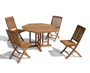 Berrington Garden Gateleg Table and Chairs Set - Patio Outdoor Drop Leaf Table and Folding Chairs - Octagonal Table