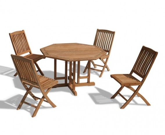 Berrington Garden Gateleg Table and Chairs Set - Patio Outdoor Drop Leaf Table and Folding Chairs