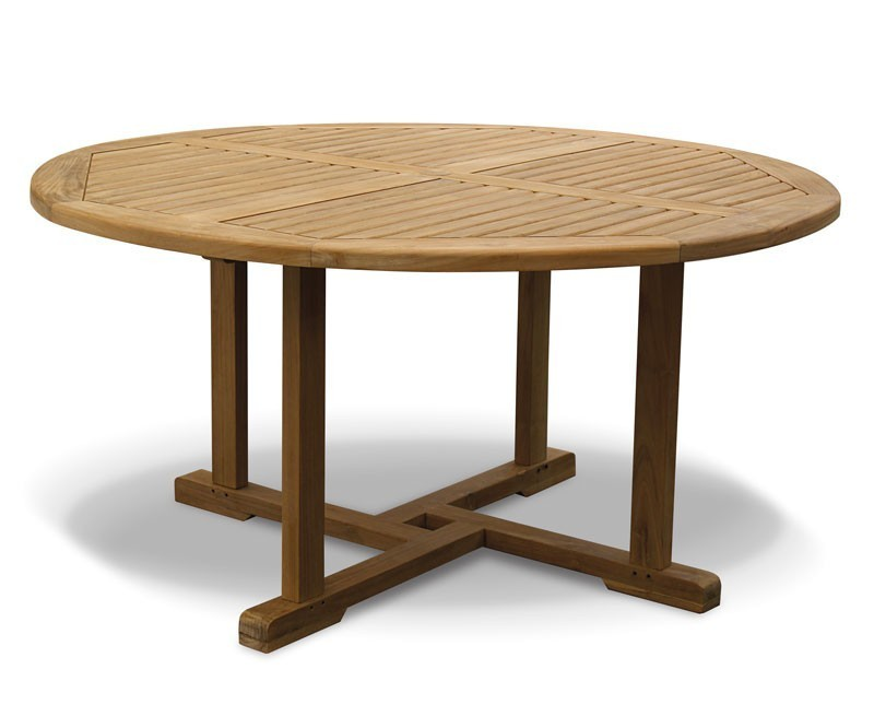 Canfield round garden table and 6 bali chairs set - Round teak table and chairs ...