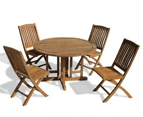 Berrington Round Garden Gateleg Table and Chairs Set - Outdoor Patio Drop Leaf Table and Folding Chairs - Bali Dining Set