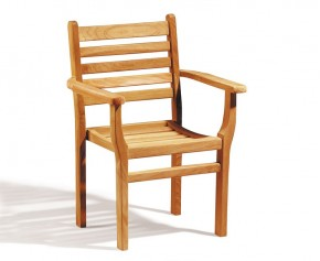 Yale Teak Stacking Garden Chair - Armchairs