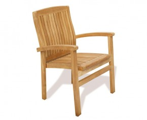 Bali Teak Garden Stackable Chair - Armchairs
