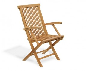 Ashdown Teak Folding Garden Armchair - Garden Chairs