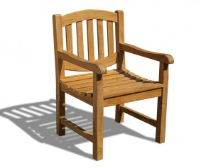 Ascot Oval Back Teak Garden Armchair - Garden Chairs
