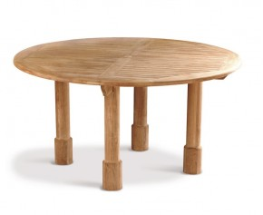 Titan Teak 5ft Round Garden Table - 150cm - 6 Seater Dining Tables