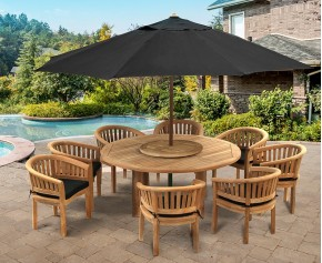 Teak Titan Table Set with Cushions and Parasol - 1.8m - Contemporary Dining Set