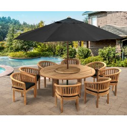 Teak Titan Table Set with Cushions and Parasol - 1.8m