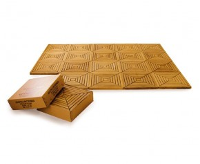 4 x Teak Decking Tiles - Patterned