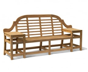 Cheltenham Teak Decorative Bench - 2.27m - Curved Garden Benches