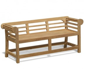 Low Back Teak Lutyens-Style Bench - 1.65m