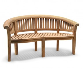 Super-Deluxe Teak Banana Bench - Medium Garden Benches
