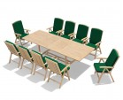 Dorchester Teak Extendable Garden Table and 10 Reclining Chairs Set