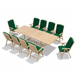 Dorchester Teak 3m Extendable Garden Table and 10 Reclining Chairs Set