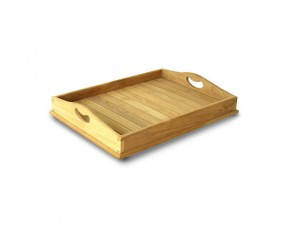 Teak Serving Tray - Straight Slats