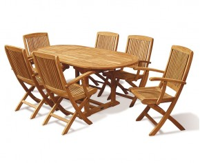 Bijou Expandable Dining Table Set with Folding Armchairs - Oval Table