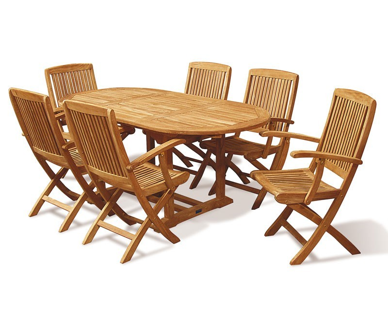 expandable dining table set with folding armchairs