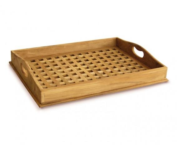 Wooden Teak Serving Tray - Cross Slats