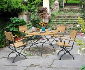 Garden Teak Bistro Table and 4 Chairs - Round Garden Bistro Dining Set - Armchairs
