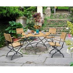 Garden Teak Bistro Table and 4 Chairs - Round Garden Bistro Dining Set