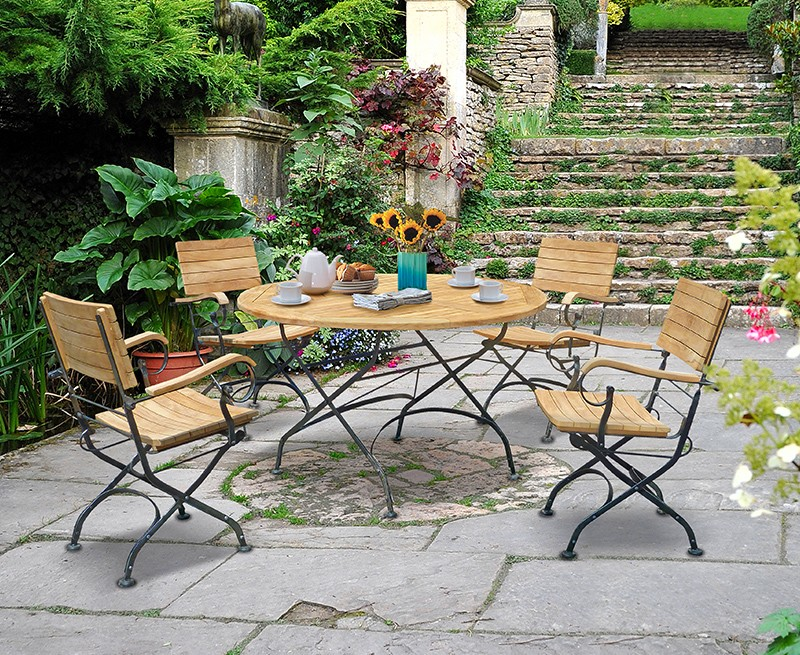 Garden Teak Bistro Table And 4 Chairs Round Garden