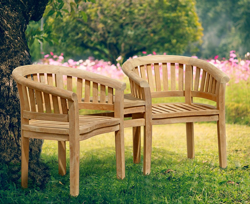 Garden Teak Companion Seat Jack And Jill Bench
