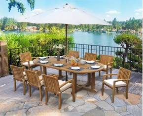 Hilgrove 8 Seater Teak Dining Set with Stacking Chairs - Monaco Dining Set