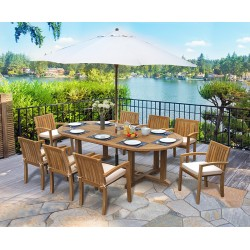 Hilgrove 8 Seater Teak Dining Set with Stacking Chairs