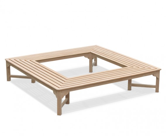 Teak Backless Square Tree Bench – 2.2m