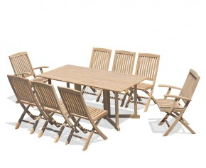 Shelley 8 Seater Drop Leaf Garden Table, Bali Armchairs and Side Chairs Set - Shelley Dining Sets