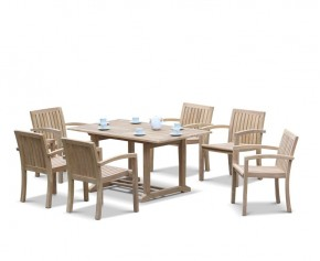 Hilgrove 6 Seater Garden Table and Monaco Stacking Chairs Set - Hilgrove Dining Set