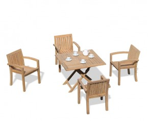 Suffolk Teak Folding Garden Table and 4 Stacking Chairs Set - Square Table